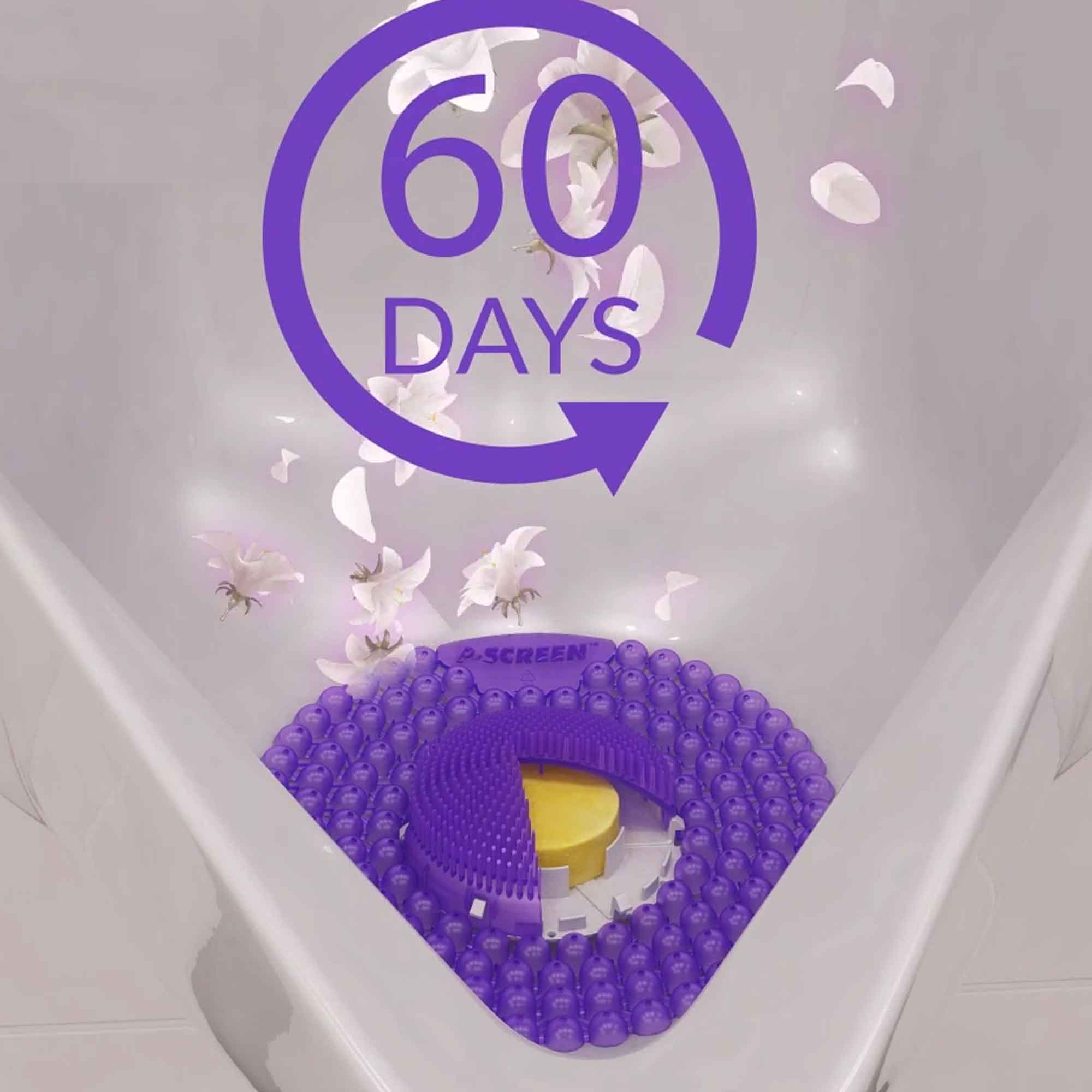 P-Screen® 60 Day Urinal Screen Lavender & Geranium cutaway - ISSA innovation