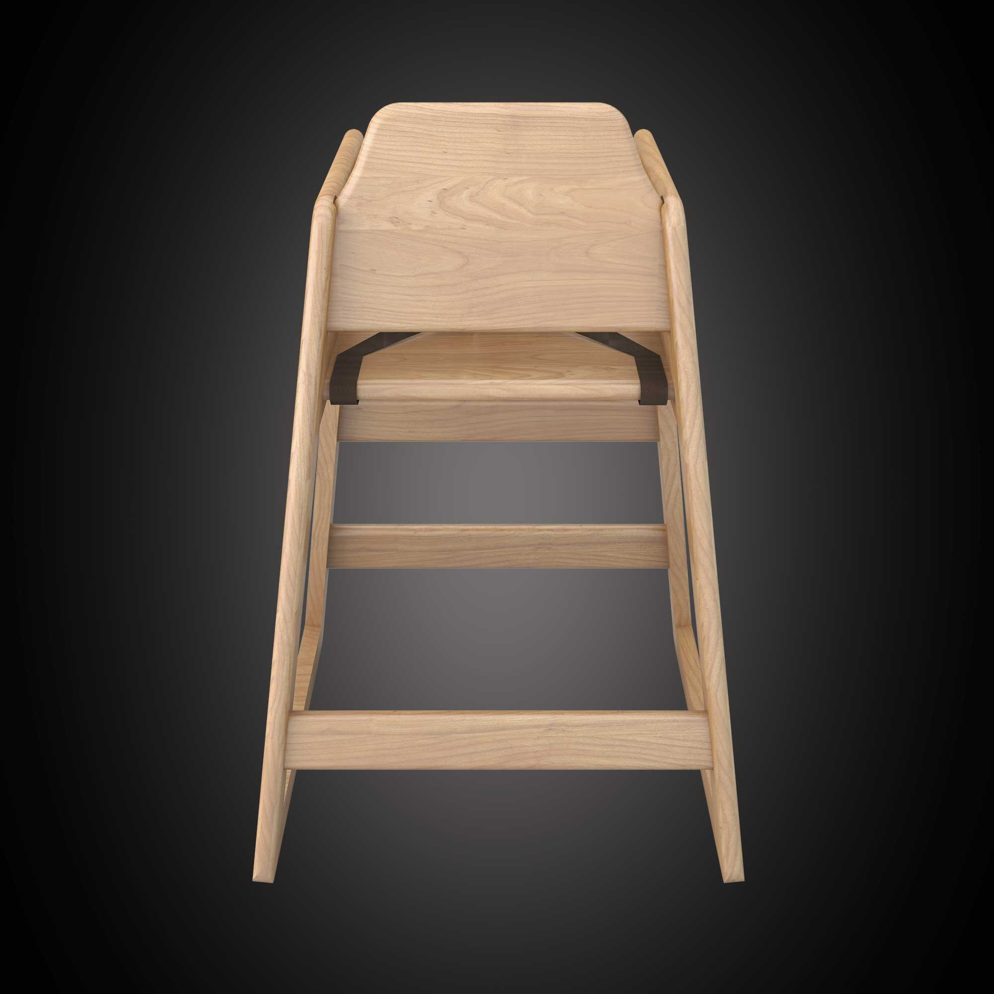 Babyminder High Chair Natural Wood - Back