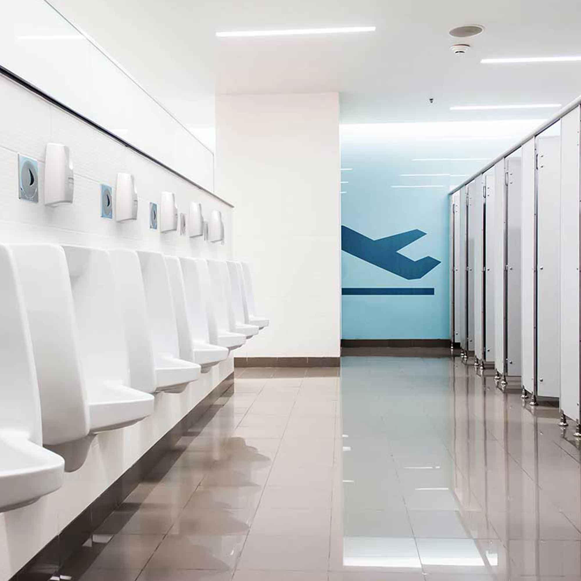 Quadrasan in airport urinals